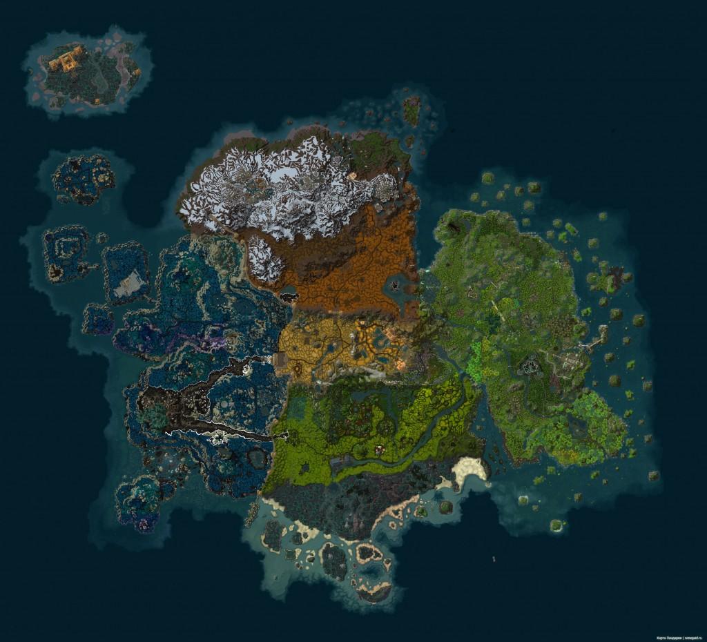 Большая и подробная карта Пандарии WoW Mists of Pandaria