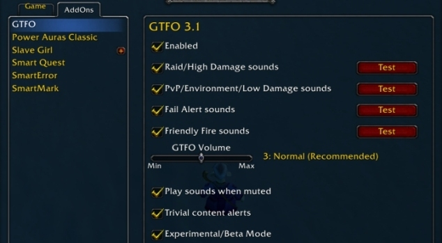 Настройки GTFO