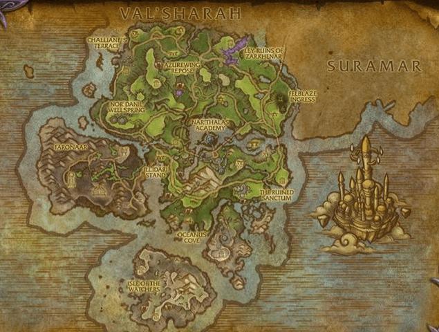 Азсуна WoW карта